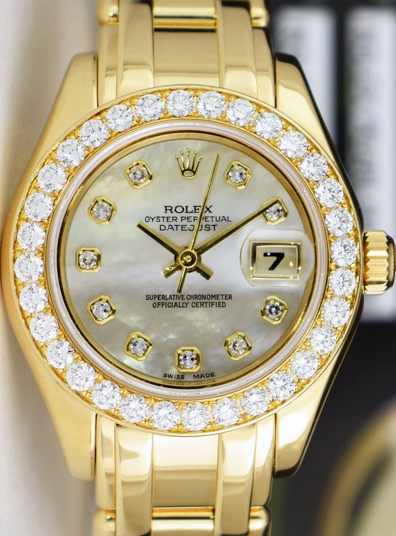 ROLEX Ladies 18kt Gold PearlMaster Masterpiece MOP Dial & Diamond Bezel 80298