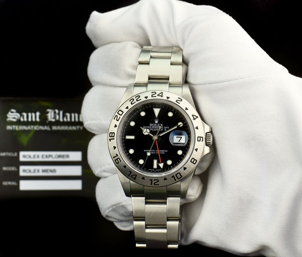 ROLEX Rehaut Mens 40mm Stainless Steel Explorer II Black Index Dial Model 16570