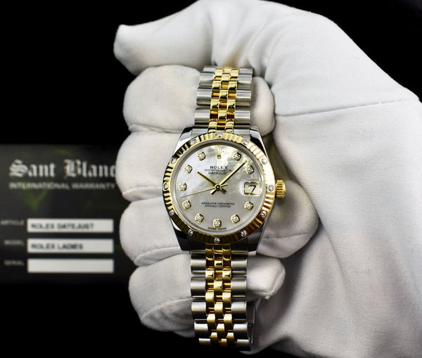 ROLEX MidSize 18kt Gold & Stainless Steel DateJust MOP Diamond 178313