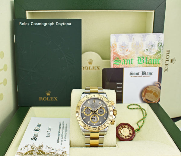 ROLEX 40mm 18kt Gold & Stainless Steel Daytona Slate Index Dial Model 116523