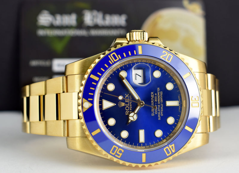 ROLEX 18kt Gold Submariner Blue CERAMIC Box Card Papers 116618 LB