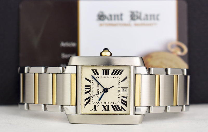 CARTIER 28mm 18kt Gold & Stainless Tank Francaise Ivory Roman Dial Model 2302