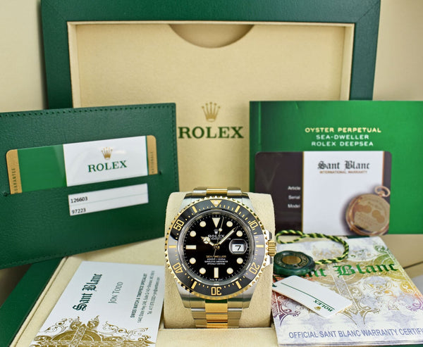 Rolex 18kt Gold & Stainless Sea Dweller Black Dial Card Model 126603