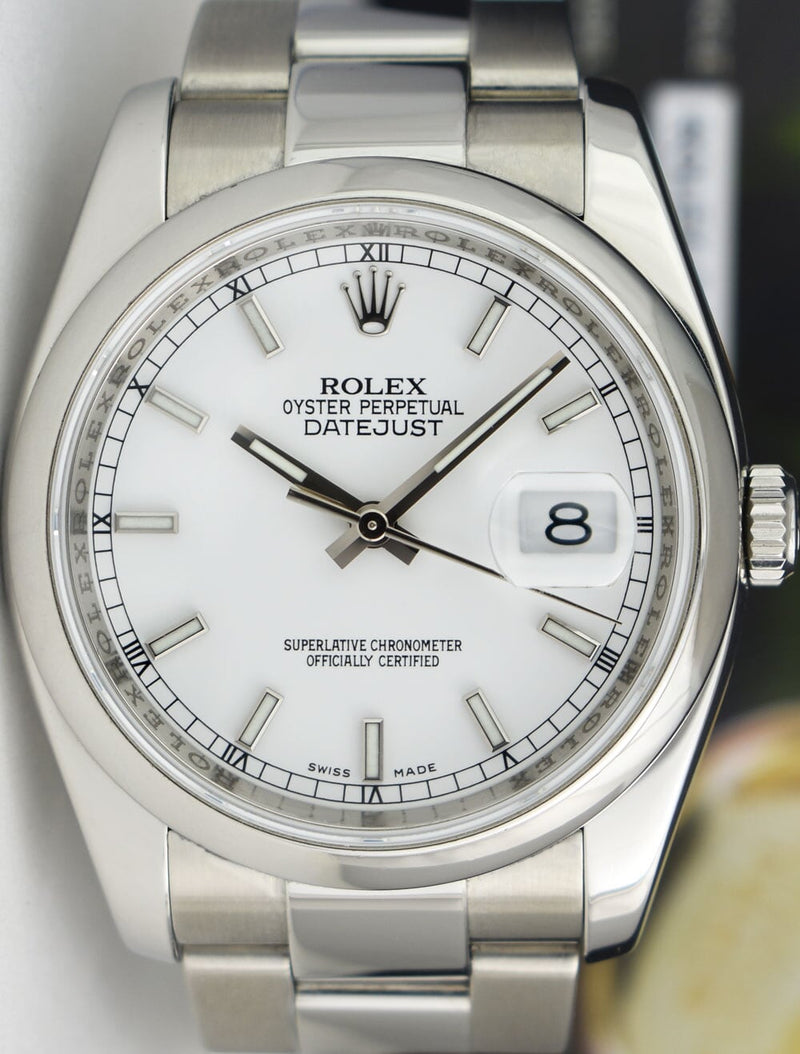 ROLEX Mens Stainless Steel DateJust White Index Dial Oyster Band 116200