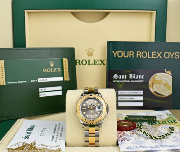 ROLEX REHAUT 18kt Gold & Stainless Yachtmaster Slate Dial CARD 169623