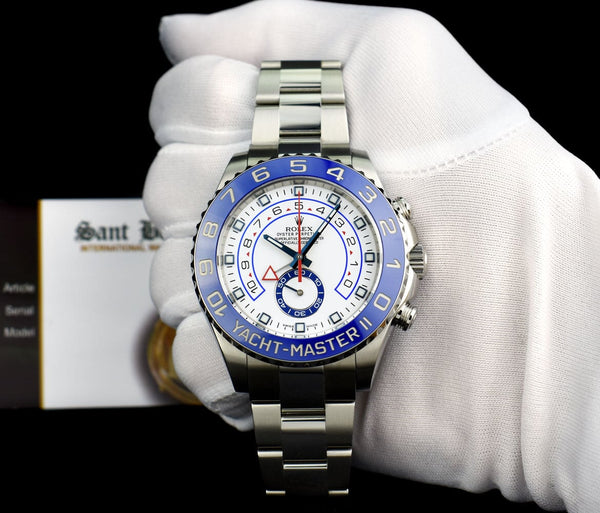 ROLEX Men 44mm Stainless Steel YachtMaster II Blue Hands Model 116680