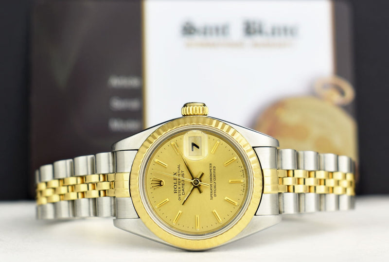 ROLEX Ladies 18kt Gold & Stainless Steel DateJust Champagne Stick Model 69173
