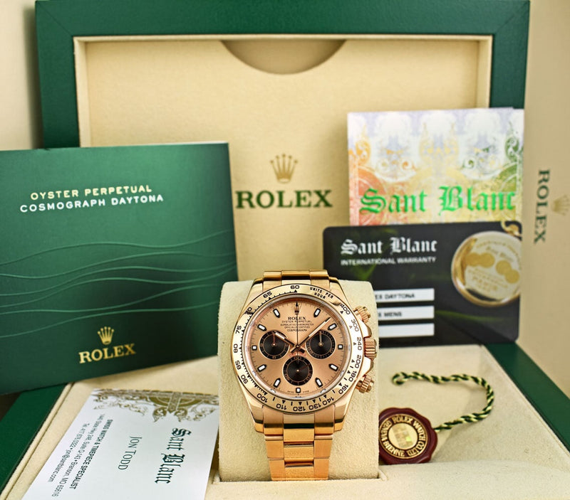 ROLEX - Mens Rose Gold Daytona Rose Pink & Black Index PANDA 116505