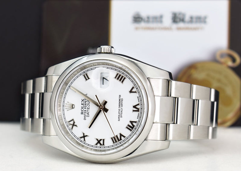 ROLEX Mens Stainless Steel DateJust White Roman Dial Oyster Band Model 116200