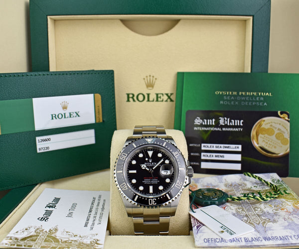 ROLEX 2019 Mens Stainless Steel Sea Dweller Black Mark II Dial Model 126600