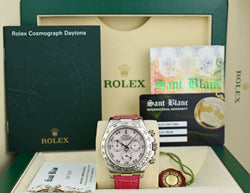 ROLEX 18kt White Gold Daytona Rose MOP Arabic Dial on Pink Crocodile Strap 116519