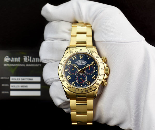 ROLEX REHAUT Mens 18kt Yellow Gold DAYTONA Blue Race Arabic 116528