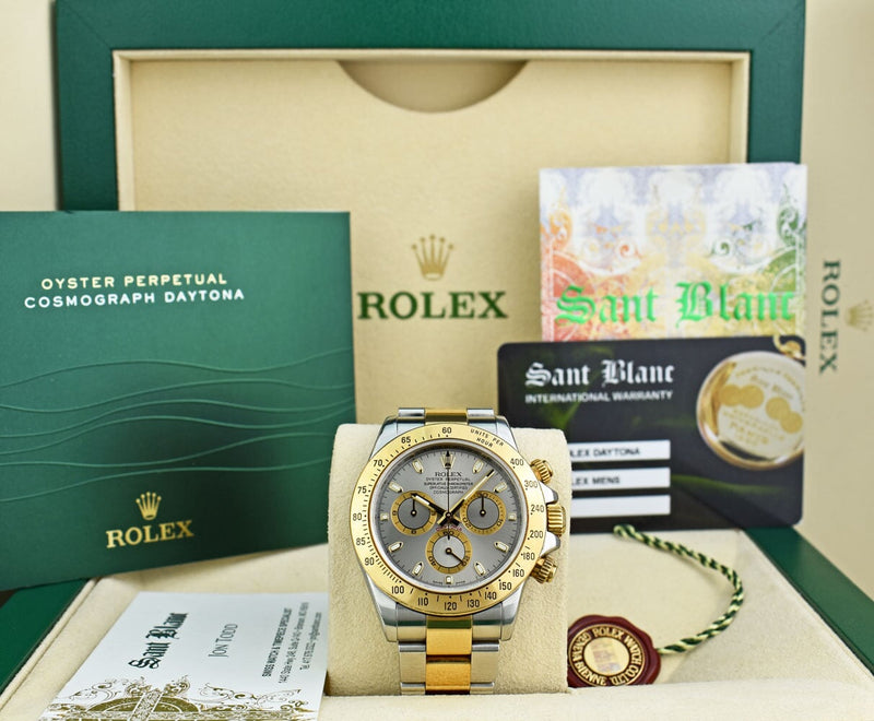 ROLEX 18kt Gold & Stainless Steel Daytona Slate Index Dial Fat Buckle Model 116523