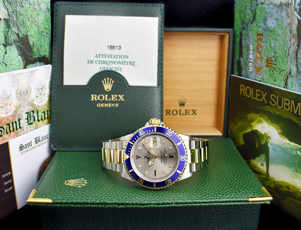 ROLEX 18kt Gold & Stainless Steel Submariner Silver Serti Sapphire & Diamond Dial Model 16613