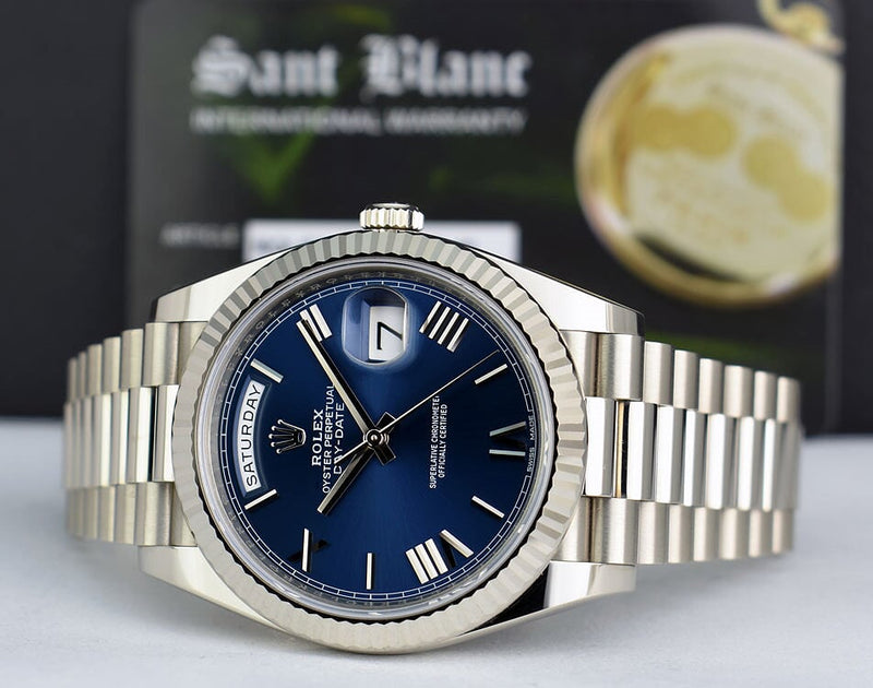 ROLEX  18kt White Gold Day Date 40 President Blue Roman Dial With Box, Books & Card Model 228239