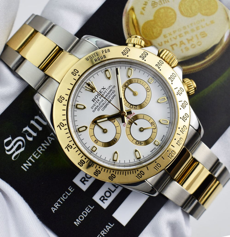 ROLEX 18kt Gold & Stainless Steel DAYTONA White Index Dial Model 116523