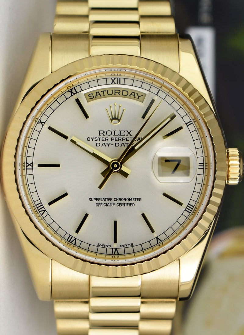 ROLEX - 36mm Mens 18kt Gold Day Date PRESIDENT Silver Stick 118238