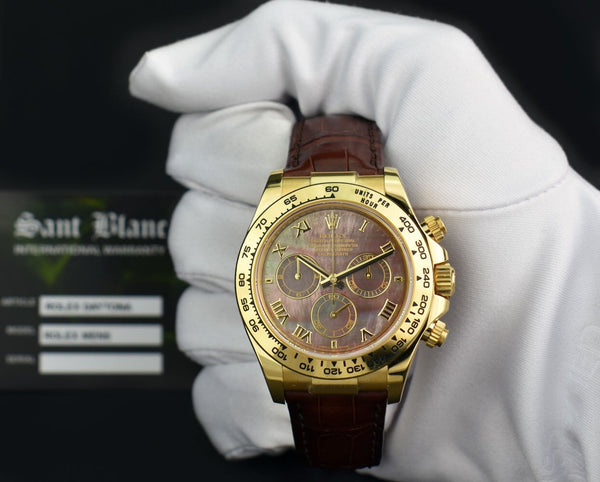 ROLEX 18kt Gold Daytona Tahitian Mother of Pearl Roman Dial Burgundy Strap Model 116518