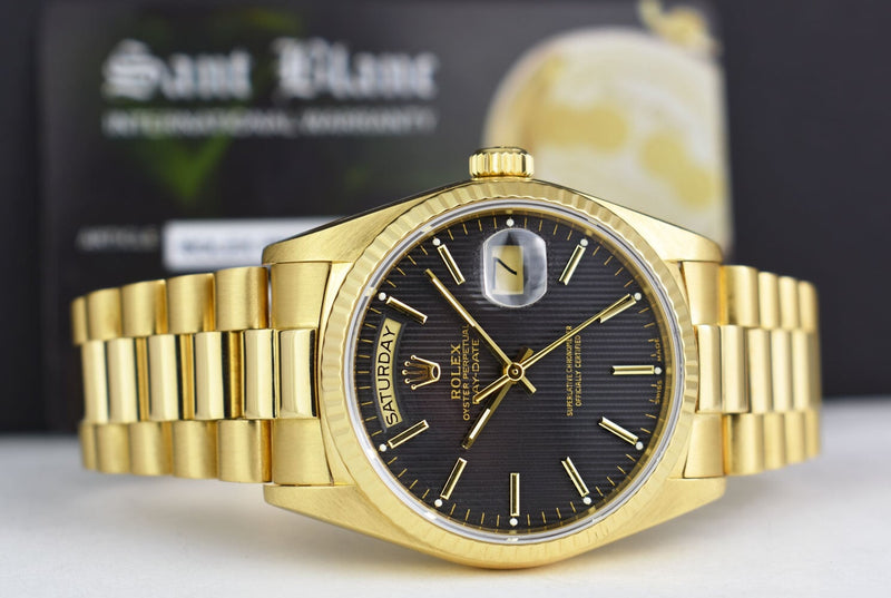 ROLEX Mens 18kt Gold Day Date PRESIDENT Black Tapestry Stick Dial Model 18038