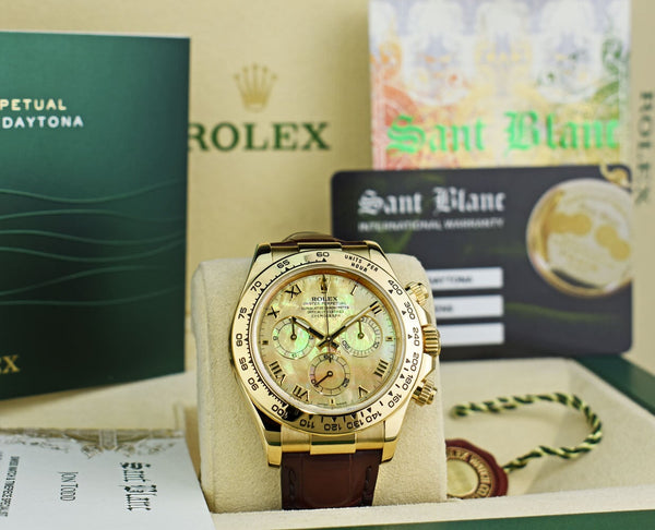 ROLEX Rehaut 18kt Gold Daytona Yellow Mother of Pearl Roman Burgandy Strap Model 116518