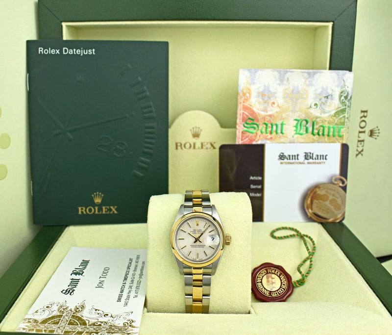 ROLEX Ladies 18kt Gold Stainless Steel DateJust Ivory Tapestry Stick Dial  Model 79163