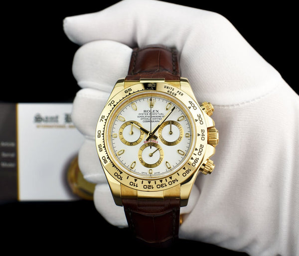 ROLEX REHAUT Mens 18kt Gold Daytona White Index Burgundy Strap Model 116518
