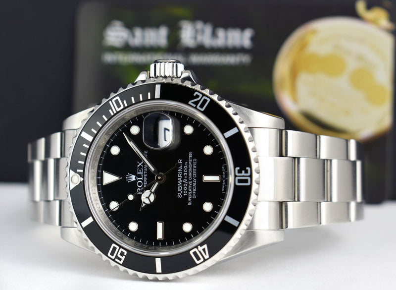 ROLEX - Mens 40mm Stainless Submariner Black Index No Holes 16610