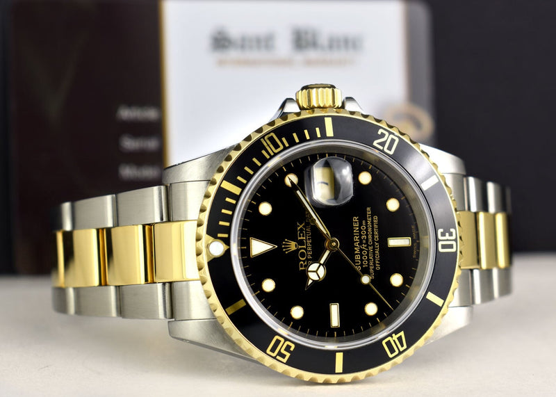 ROLEX 40mm 18kt Gold & Stainless Submariner Black Dial SEL Model 16613