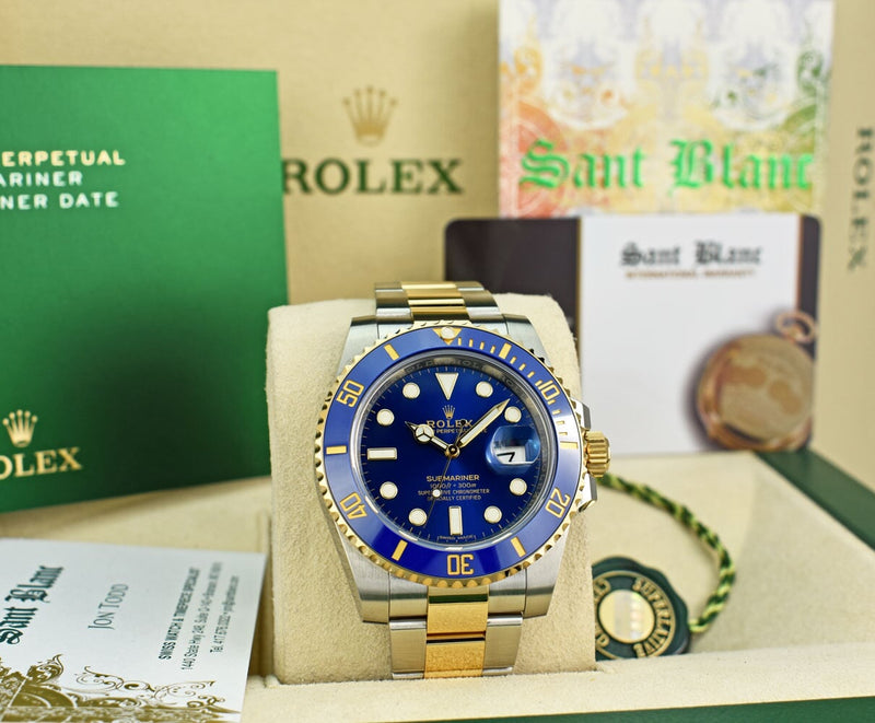 ROLEX 18kt Gold & Stainless Steel Submariner Blue Dial Box & Card Model 116613LB