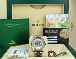 ROLEX REHAUT Mens Stainless Steel Datejust Silver Bulls Eye Dial 116234