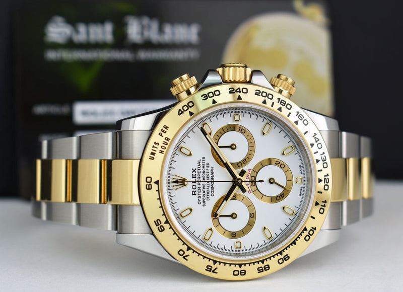 ROLEX 18kt Gold & Stainless Steel Daytona White Index Dial With Box, Card and Tags Model 116503