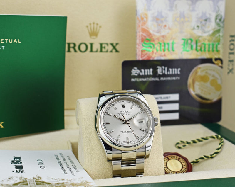 ROLEX Mens Stainless Steel DateJust Silver Index Dial Oyster Band Model 116200