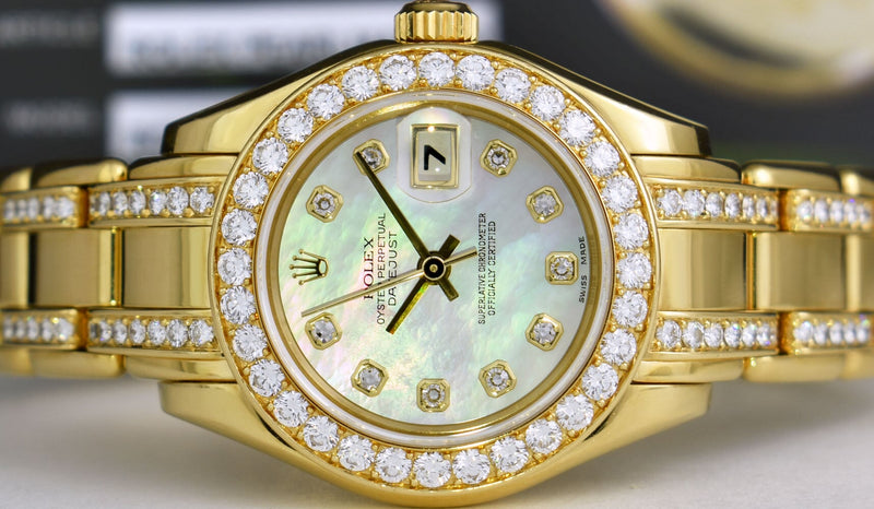 ROLEX 18kt Gold Ladies Pearlmaster MOP Dial Diamond Bracelet 69298
