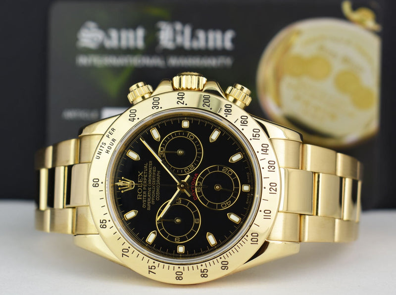 ROLEX - 40mm Mens 18kt Gold DAYTONA Chronograph Black Index 116528