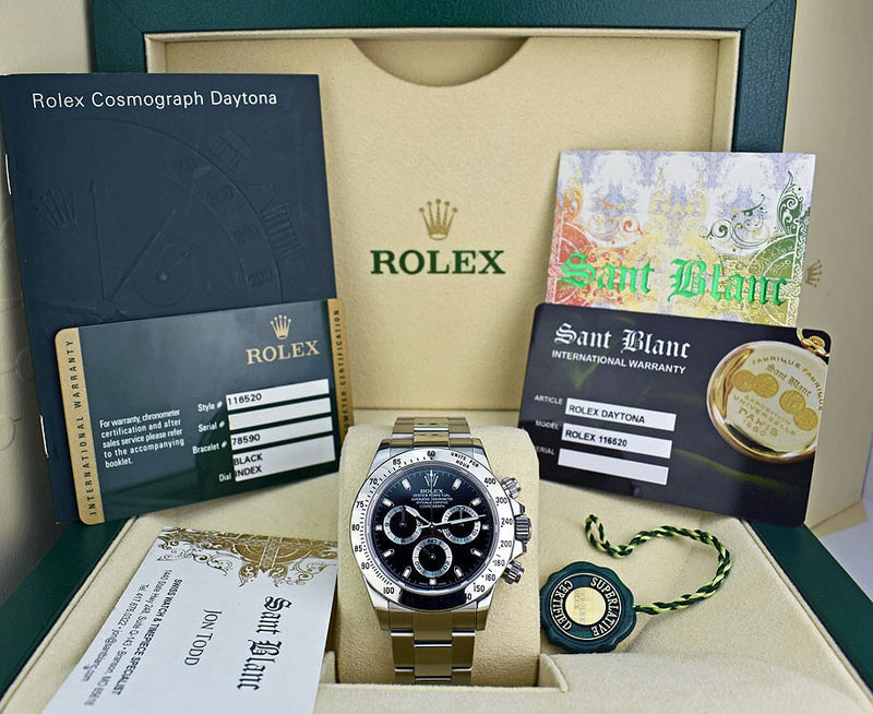 ROLEX - 40mm Stainless DAYTONA Black Index Dial Fat Clasp 116520