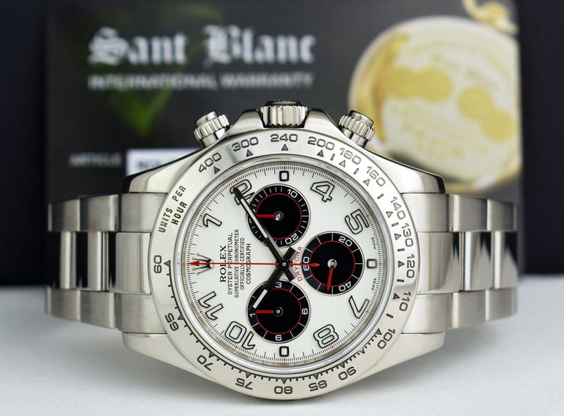 ROLEX Mens 18kt White Gold DAYTONA White Black Panda Dial Red Hands 116509
