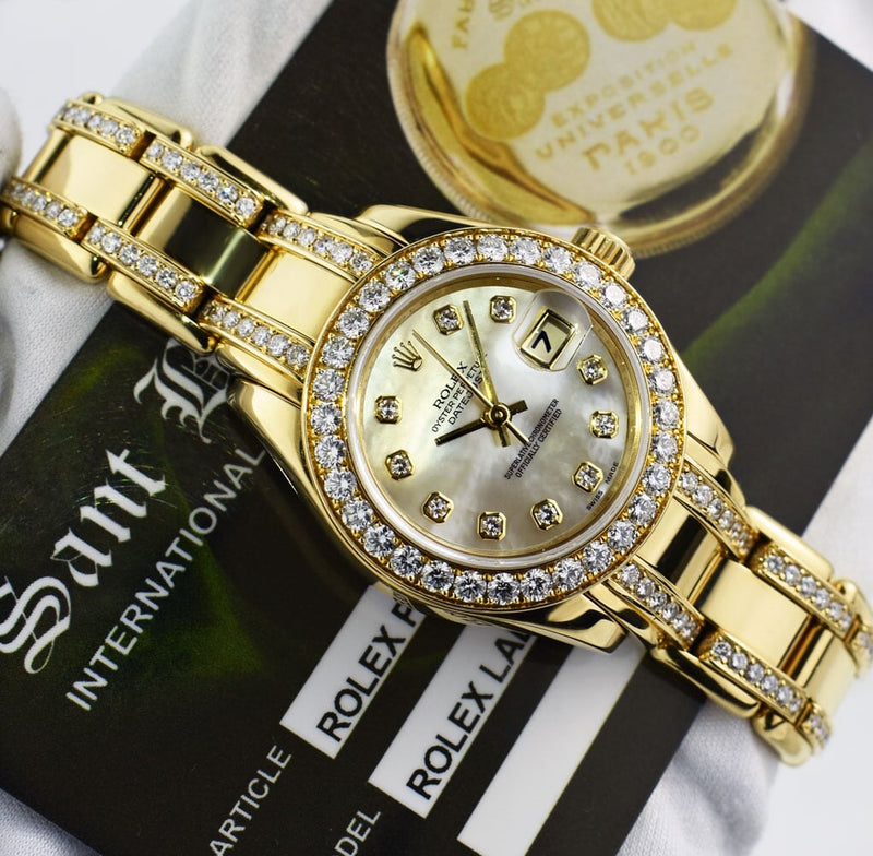 ROLEX REHAUT 18kt Gold Pearlmaster Diamond Bracelet MOP Diamond Dial Model 80298