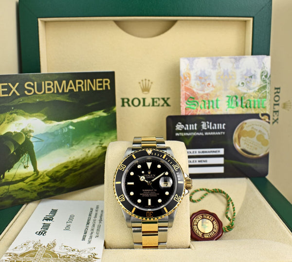 ROLEX 18kt Gold & Stainless Steel Submariner Black Dial No Holes Model 16613