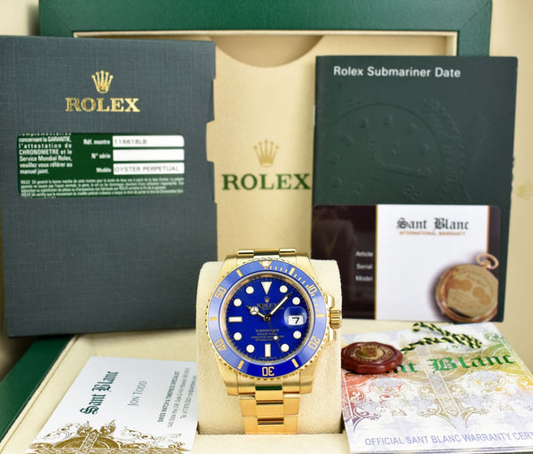 ROLEX 18kt Gold Submariner Matte Blue Dial Box Card Papers Model 116618LB