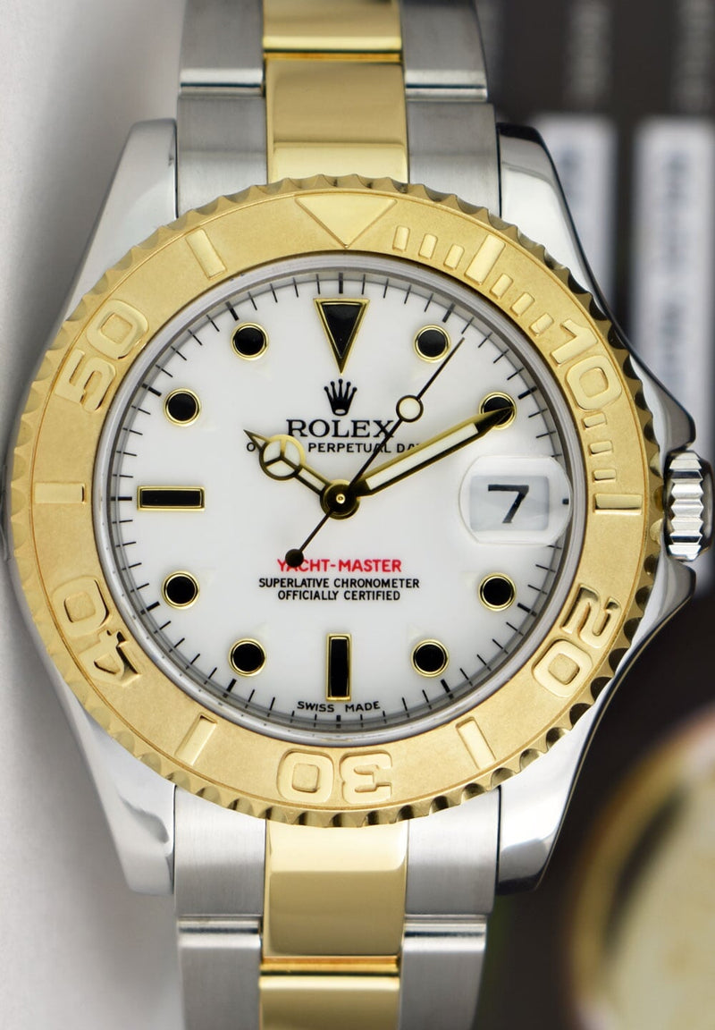 ROLEX 18kt Gold & Stainless Steel MidSize Yachtmaster White Index Dial Model 168623