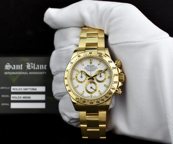ROLEX REHAUT Mens 40mm 18kt Yellow Gold DAYTONA White Index 116528