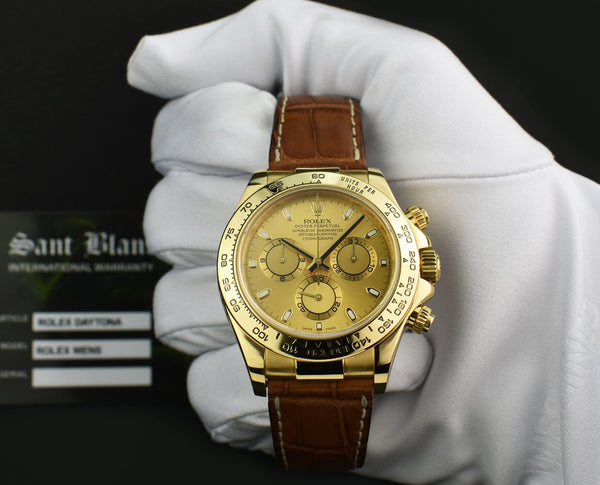 ROLEX REHAUT 18kt Gold Daytona Honey Brown Strap Champagne Index Model 116518