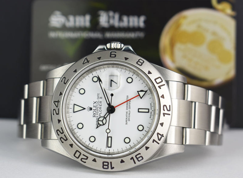 ROLEX 40mm Mens Stainless Steel Explorer II White Dial Model 16570