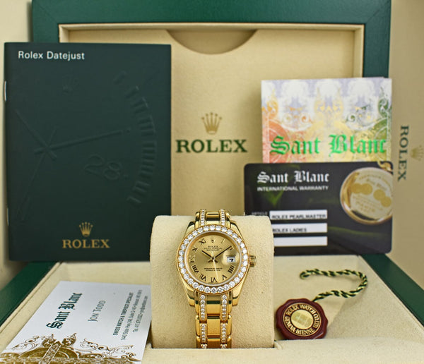 ROLEX 18kt Gold Pearlmaster Champagne Roman Dial Diamond Bracelet 80298