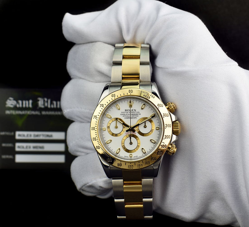 ROLEX - Mens 18kt Gold & Stainless Steel DAYTONA White Index 116523