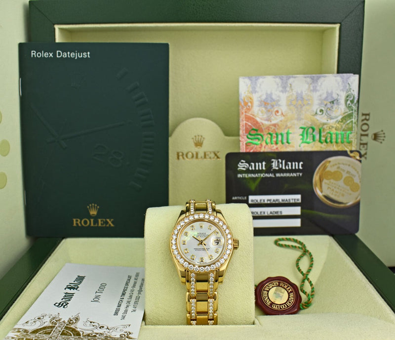 ROLEX 18kt Gold Pearlmaster MOP Dial Diamond Bracelet PAPERS 69298
