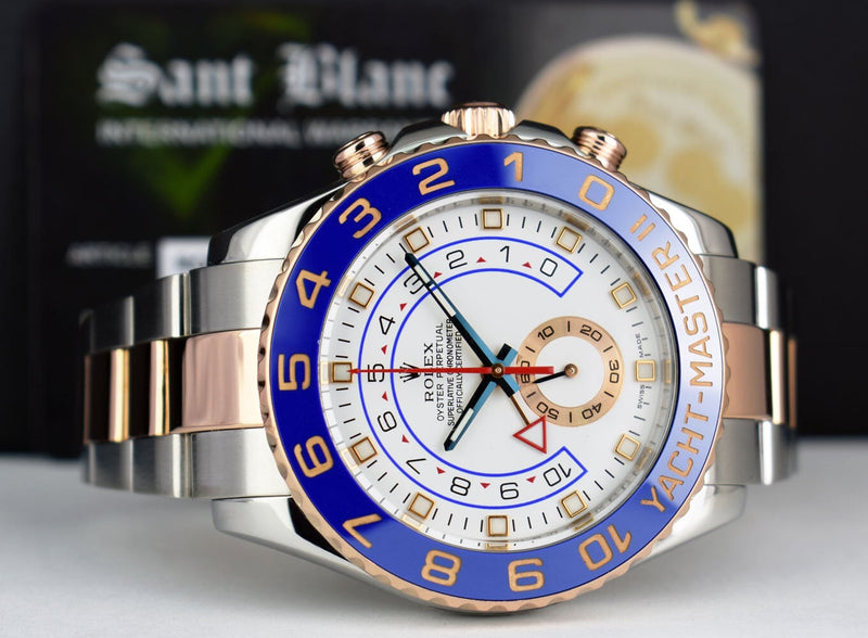 ROLEX Mens 44mm 18kt Rose Gold & Stainless Steel YachtMaster II Blue Hands 116681