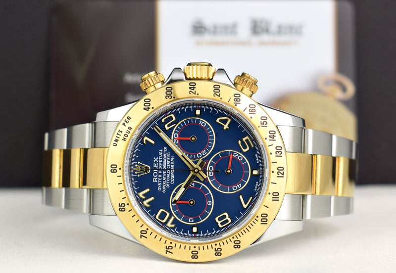 ROLEX Unworn 18kt Gold & Stainless Daytona Blue Index with Card Model 116523