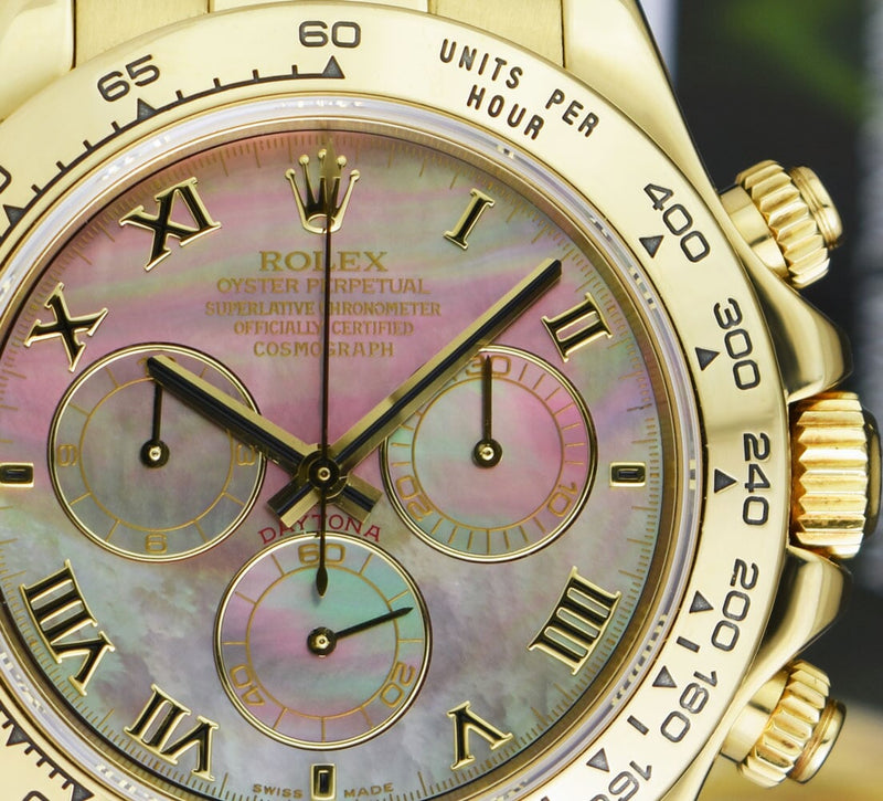 ROLEX 40mm 18kt Gold Daytona Tahitian Mother of Pearl Roman Leopard Strap Model 116518