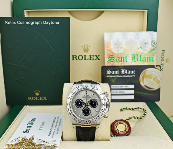 ROLEX REHAUT 18kt White Gold Daytona Steel Index Dial Black Strap 116519